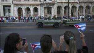 A military vehicle transports the ashes of Cuba's late President Fidel Castro on 30 November, 2016.
