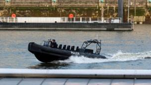 A police boat on the River Thames