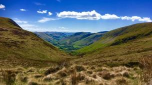 Looking down towards Llanymawddwy in mid Wales from Bwlch Y Groes