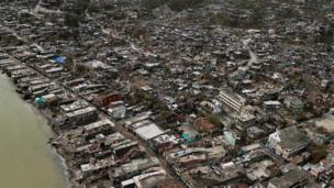 Destroyed houses are seen after Hurricane Matthew hit Jeremie in Haiti