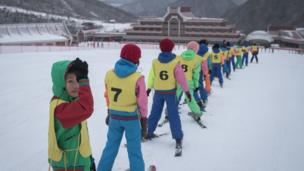 This photo taken on February 19, 2017 shows members of a 'ski camp' at the Masikryong ski resort