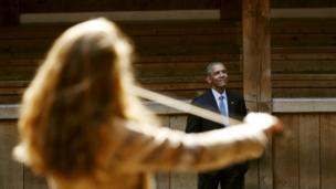 US President Barack Obama at the Globe