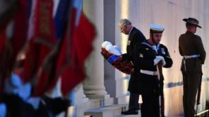 Prince Charles lays a wreath at an Anzac dawn service in Villers-Bretonneux