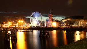 The big wheel on the waterfront in Cardiff Bay