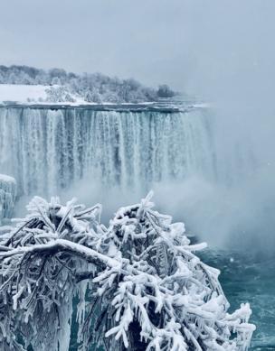 A frozen over waterfall