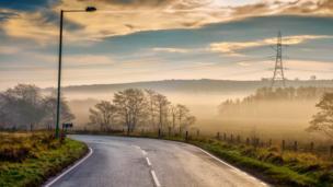 A misty road through Heol y Cyw in Bridgend County, taken by John Finch