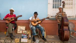 A band play on the streets of Trinidad, Cuba