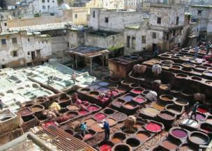 Colourful pots of dye, Fez, Morocco