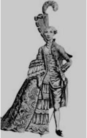 ilustração de uma pessoa com trajes mistos