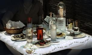 A table of food and bottles