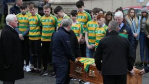 The coffin arrives for the funeral of Connor Currie at St Malachy's Church, Edendork.