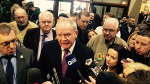 Martin McGuinness speaking to the media