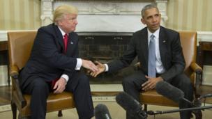 مصافحة أوباما وترامب
