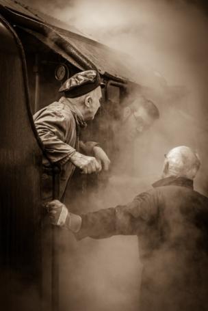 Engine driver on heritage railway