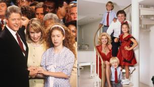 Bill Clinton with wife Hillary and daughter Chelsea at the Democratic National Convention / the Trump Family, circa 1986