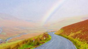A rainbow over the Elan Valley
