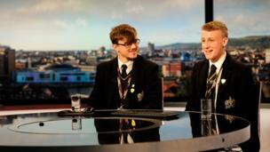Two Young Reporters at the BBC Newsline desk