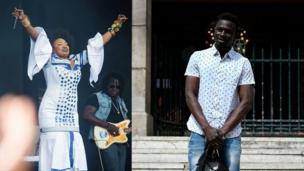 La chanteuse malienne Oumou Sangaré rend hommage à son compatriote Mamoudou Gassama lors d'un Festival à Paris.