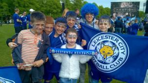 Kids celebrating Leicester's win