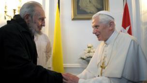 Fidel Castro com o papa Bento XVI em 2012
