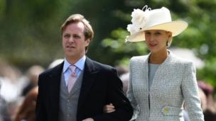 Lady Gabriella Windsor attends the wedding with a partner