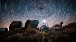Star trail over Ramshaw Rocks up in tha Staffordshizzle Moorlands, Staffordshire
