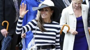 Tara Palmer-Tomkinson at the wedding of Lady Melissa Percy to Thomas van Straubenzee at St Michael's Parish Church in Alnwick, 22 June 2013
