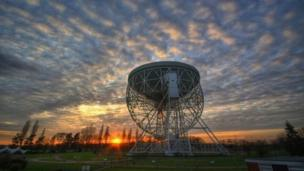 Grade I listed Lovell Telescope at Jodrell Bank.