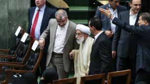 آیتالله جنتی، دبیر شورای نگهبان ایران در مراسم تحلیف حضور یافت