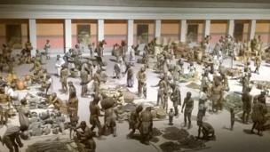 Maqueta en el Museo de Antropología de la Ciudad de México, representando el mercado principal de Tenochtitlán, antes de la llegada de los españoles. Foto enviada por Javier Rosenblueth