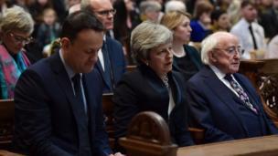 Leo Varadkar, Theresa May and Michael D. Higgins at the funeral of Lyra McKee