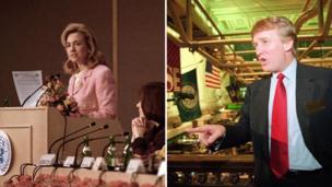 Hillary Clinton mjini Beijing in 1995; Donald Trump katika jengo la IPO la trump plaza mwaka 1995