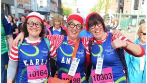 Competitors dress up to raise funds for charities of their choice, Belfast City Marathon, 1 May 2017