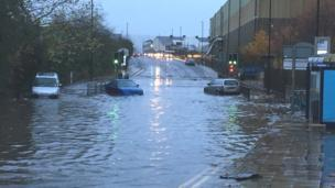 Cars were submerged outside the Magna Science Centre on Sheffield Road in Rotherham