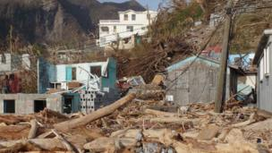 A view of destroyed houses in Soufriere