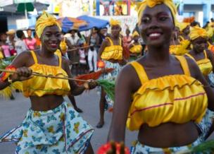 Dancers perform in Les Cayes, Haiti. Photo: 28 February 2017