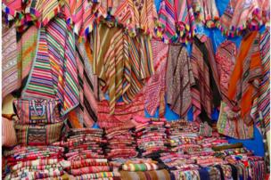 Colourful fabrics on display in Peru.