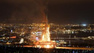 Temple on fire in Derry