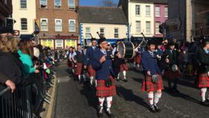 A pipe band joined the celebrations in Downpatrick