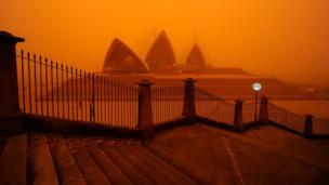 Sydney with orange sky