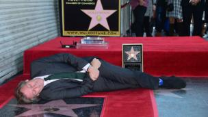 Was Hugh Laurie worn out with excitement when he attended the unveiling ceremony for his shiny new star on the Hollywood Walk of Fame?