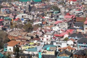 A view from above of colourful houses