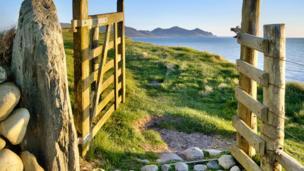 Yr Eifl mountain range seen from Dinas Dinlle in Gwynedd