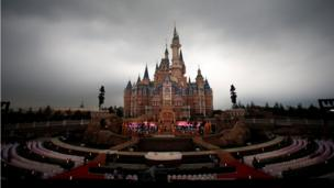 The Enchanted Storybook Castle at Shanghai Disney Resort, surrounded by seats in preparation for the opening ceremony, in Shanghai on 15 June 2016.