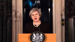 英國首相特里莎·梅表示