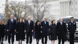 The Bush family attending George HW Bush's funeral