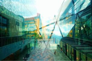 Double exposure view of a glass covered shopping centre in Leicester