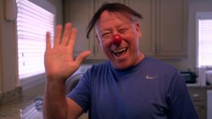 Steve Lough wavin while bustin some clown gear