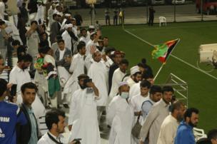 نزدیک به ۳۰۰ هوادار افغان نیز در ورزشگاه السیلیه قطر این مسابقه را از نزدیک تماشا کردند