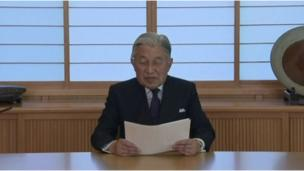 The Emperor making his televised address, 8 August 2016